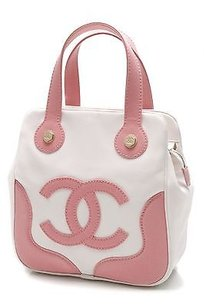 Chanel Pink Canvas Cc Satchel in Pink, ivory
