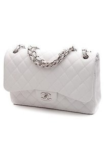 Chanel Quilted Caviar Leather Classic Jumbo Double Flap Satchel in White