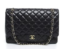 Chanel Black Lambskin Maxi Single Flap Shoulder Bag