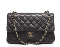 Chanel Black Lambskin Double Shoulder Bag