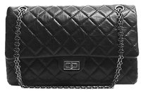 Chanel Black Aged Calfskin Shoulder Bag