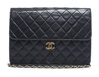 Chanel Black Lambskin Slim Vintage Flap Ghw Shoulder Bag