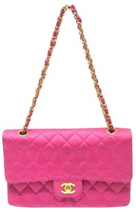 Chanel Rare Medium 2.55 Double Flap Satin Pink Vuitton Prada Gucci Burberry Hermes Shoulder Bag