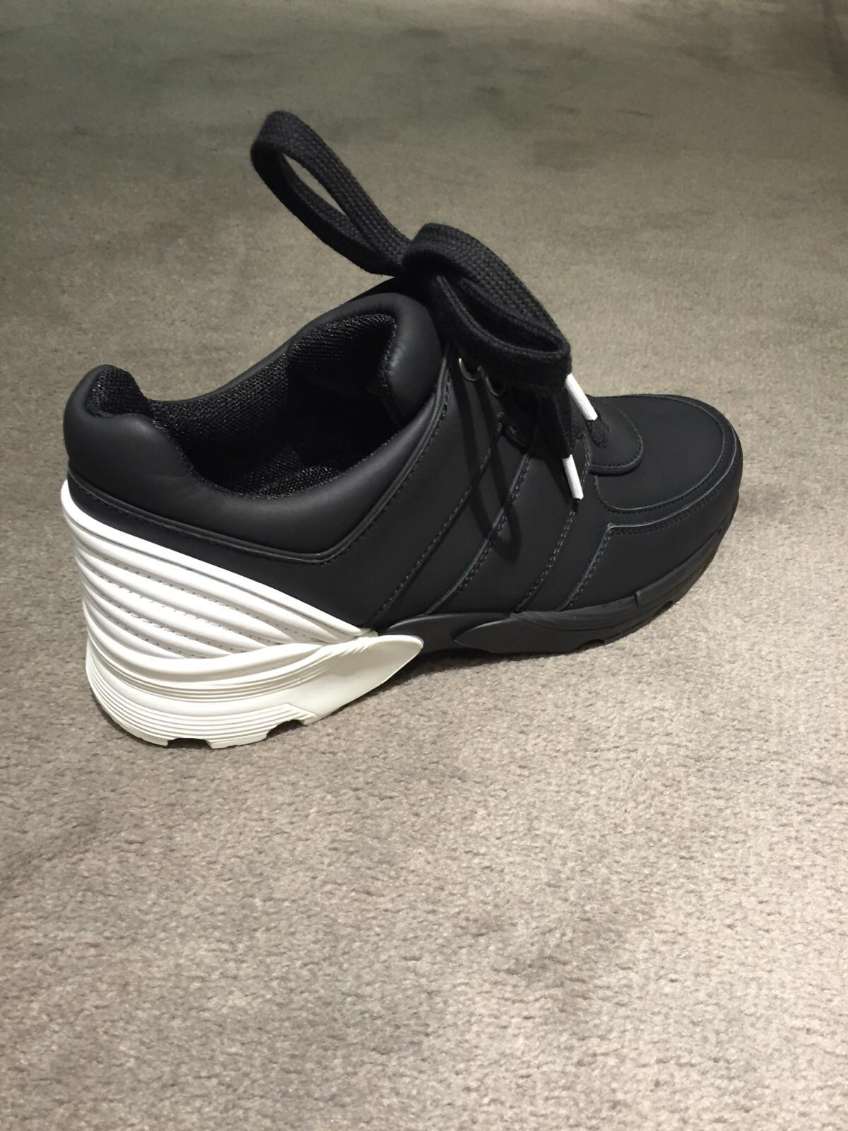 chanel trainers. chanel sneakers suede logo leather black athletic trainers