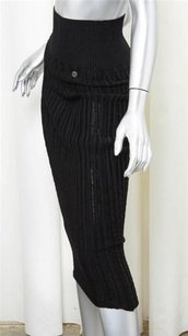 Chanel Fall High Waisted Accordion Pleat Ribbed Pencil Skirt Black