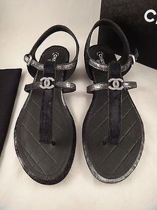 Chanel 15c Pony Leather Black Sandals