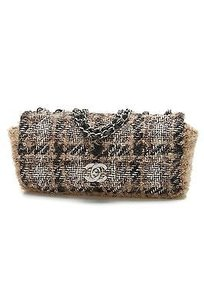 Chanel Tweed Eastwest Flap Satchel in Black, white, beige