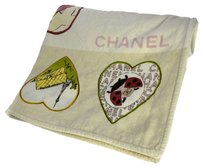 Chanel Ultra Rare! Auth CHANEL CC Logos Beach Towels Blanket 100% Cotton Vintage 10V070