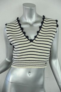 Chanel Womens Striped Cropped Vest Sleeveless Shirt 38m Sweater