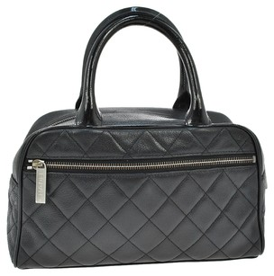 Chanel Vintage Quilted Cc Hand Satchel in Black