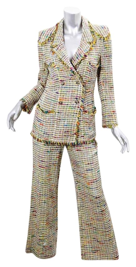 Chanel Yellow Boutique Womens Tweed Blazer Jacket Flare Outfit Pant Suit Size 4 (S) - Tradesy