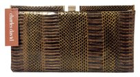 Charles David Snakeskin Leather brown bronze Clutch