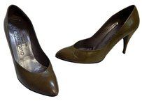 Charles Jourdan France Vintage Olive Leather B Green Pumps