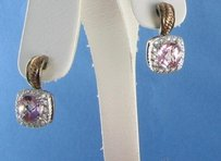 Charles Krypell Charles Krypell 14k Rose Sterling 925 Pink Topaz Diamond Earrings