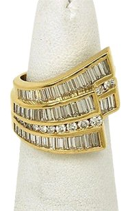 Charles Krypell Charles Krypell 18k Ygold 2.70ctw Baguette Round Cut Diamond Cocktail Ring