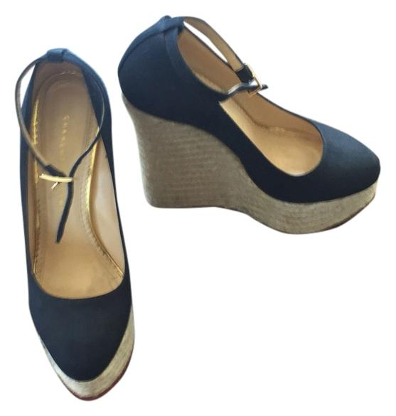 Charlotte Olympia and Black Canvas and Olympia Jute. Carmen Wedges Size US 8.5 Regular (M, B) 2a44c8