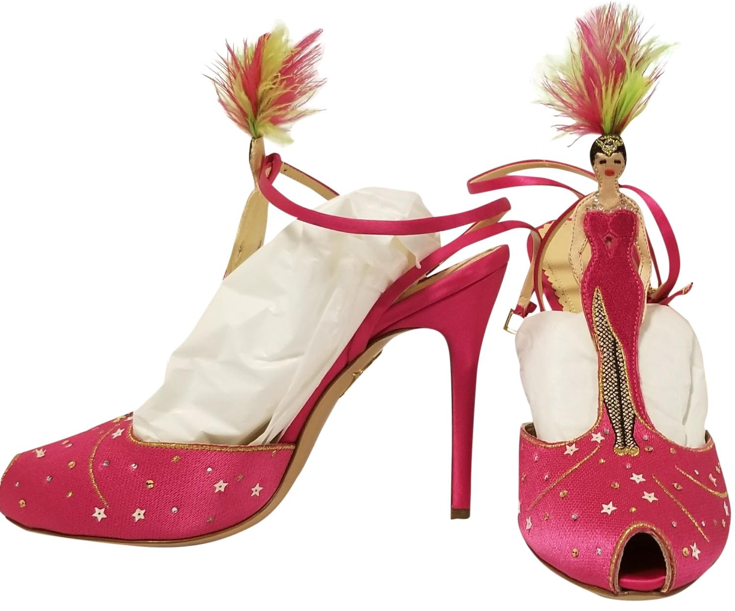 Charlotte Olympia Pink Around The World Las Vegas Platforms Size US 9 Narrow (Aa, N)