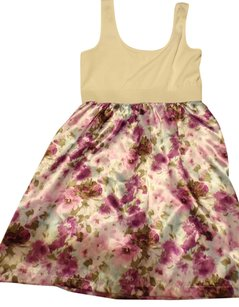 Charlotte Russe short dress White / purple & Green Floral Skirt ( 8 ) on Tradesy