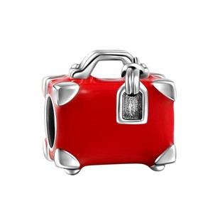 Other Red Travel Suitcase Charm 925 Sterling Silver