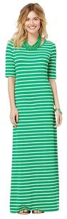 AFTERNOON GREEN STRIPES MAXI 3/4 SLEEVE Maxi Dress by Charming Charlie Striped Jersey