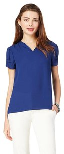 Charming Charlie V-neck Top Blue Navy Pleated Blouse Shirt Top
