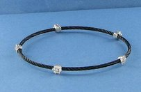 Charriol Charriol 18k Celtic Noir Pvd Cable Bangle Bracelet Diamonds 0.22cts