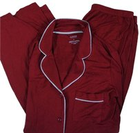 Charter Club Charter Club Solid Red Silver Tipped Pajama Set