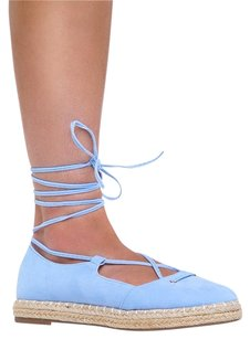 Chase & Chloe Ankle-strap Blue Flats