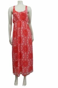 coral white Maxi Dress by Chaser Tribal Print Open Back Maxi