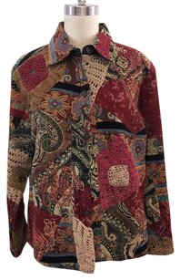 Chico's Red Multi Print Embroidered Tapestry Multi-Color Jacket