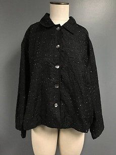 Chico's Design Silk Beaded Collared Button Up Basic Sma6437 Black Jacket