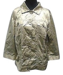 Chico's Polyester Blend Casual Button Down Lightweight 2737a Gold Jacket