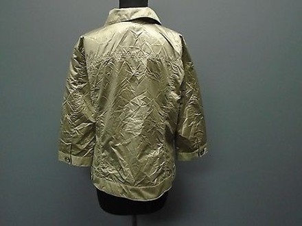 bd70b658849185 Chico's Chicos Gold Polyester Blend Casual Button Down Lightweight Jacket  2737a cheap