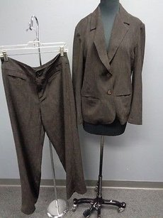 Chico's Chicos Brown Textured Poly Blend Lined Pant Suit Szjacket 1 Pants 1.5 Sma6856