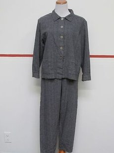 Chico's Chicos Design Blue Pinstripe Long Sleeve Button Up Jacket Pant Suit 27081