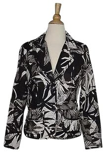 Chico's Chicos Womens Brown White Floral Blazer 0 Long Sleeve Silk Jacket