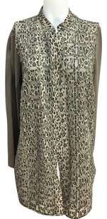 Chico's Tans And Black Leopard Print 1 Fits Ladies Multi-Color Jacket