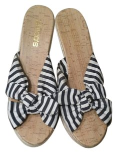 Chico's Navy Blue and White Stripes Wedges