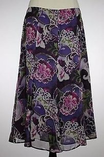Chico's Chicos Womens Floral Skirt Multi-Color