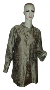 Chico's Sequin Beaded Button Down Shirt GOLD