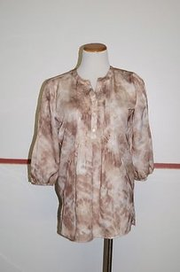Chico's Chicos 34 Sleeve Button Top Brown