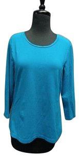 Chico's Stretchy Crewneck Knit Cotton Blend 1 Sma3756 Top Turquoise