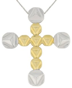 Chimento Chimento,18k,Whilte,And,Yellow,Gold,Two-tone,Cross,Necklace