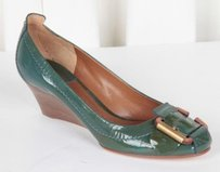 Chloé Chloe Womens Patent Leather Green Platforms