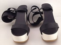 Chloé Chloe Black And White Leather Multi-Color Platforms