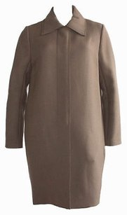 Chloé Chloe Olive Wool Button Front Collared Long Jacket Coat