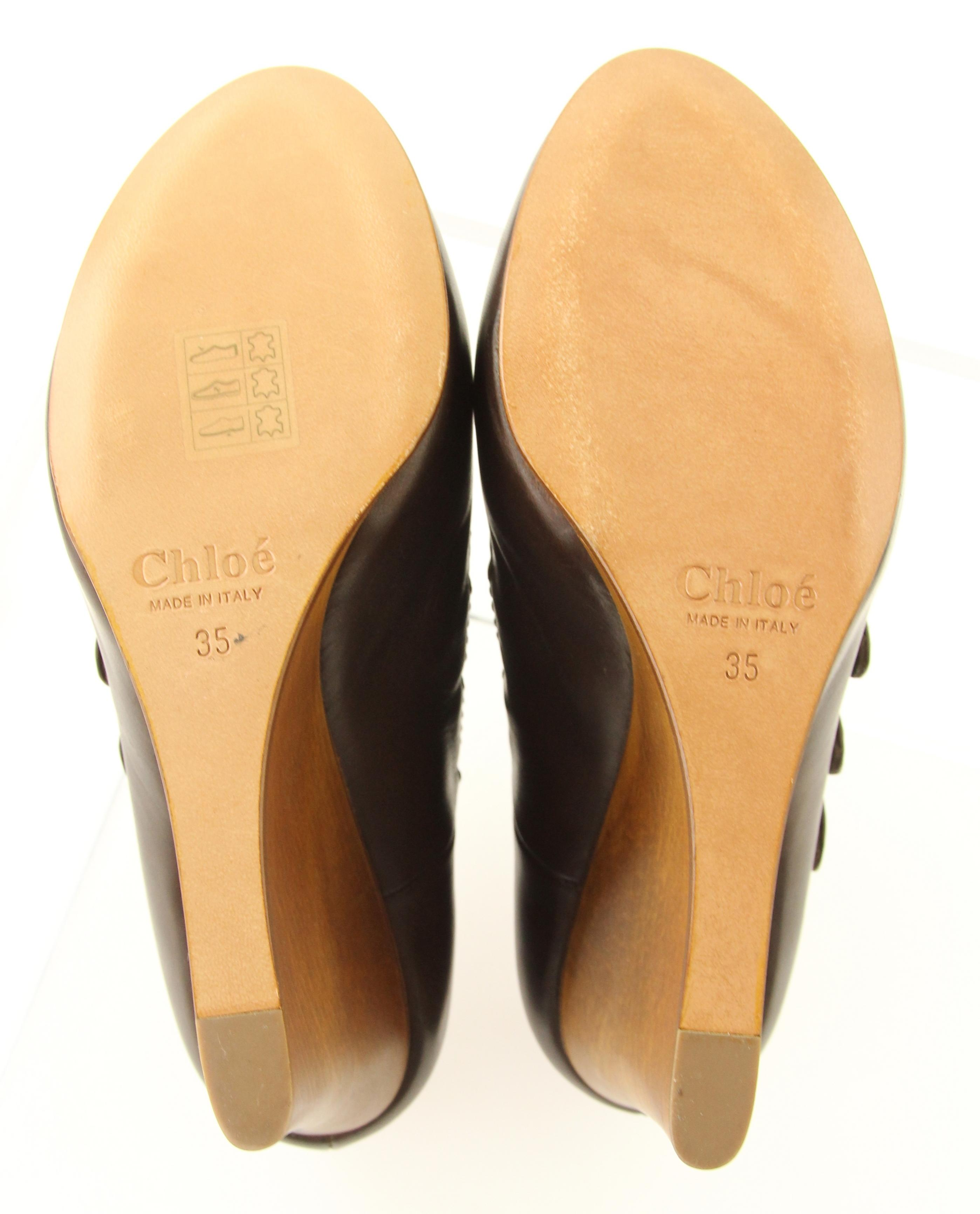 a125c2c679 US Chloé Brown Dark Leather Buckle Detail Detail Detail Wedges Size EU 35  (Approx.