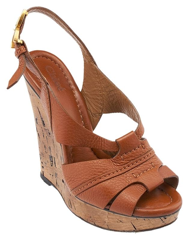 Chloé Brown Leather Tan Leather Brown 36.5 (51613) Wedges Size US 6.5 9920f6