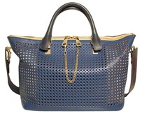 Chloé Chloe Chloe Navy Perforated Handbag Chloe Marcie Chloe Tote in Blue