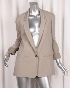 Chlo Chloe Womens Classic Khaki Beige Long-sleeve Single-button Blazer Jacket 386